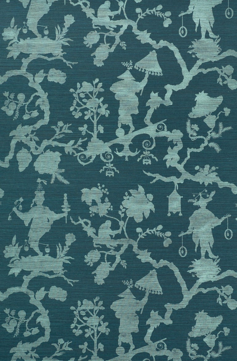 Classic chinoiserie motifs rethought as a modern silhouette pattern, this design brings whimsy and a fresh, graphic look to a room.   Since Schumacher was founded in 1889, our family-owned company has been synonymous with style, taste, and