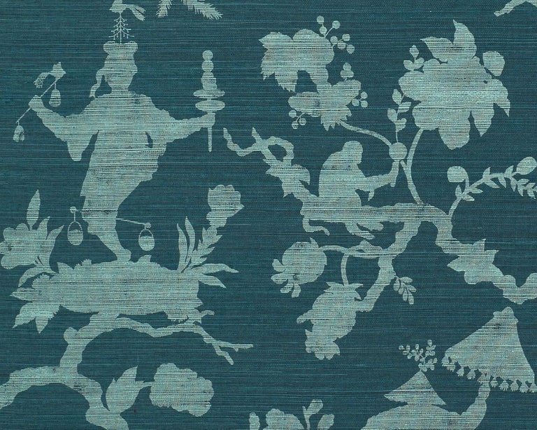 American Schumacher Shantung Silhouette Sisal Chinoiserie Wallpaper in Peacock For Sale