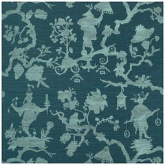 Schumacher Shantung Silhouette Sisal Chinoiserie Wallpaper in Peacock