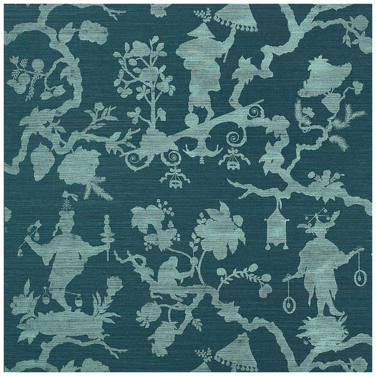 Schumacher Shantung Silhouette Sisal Chinoiserie Wallpaper in Peacock For Sale
