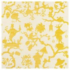 Schumacher Shantung Silhouette Sisal Chinoiserie Wallpaper in Yellow