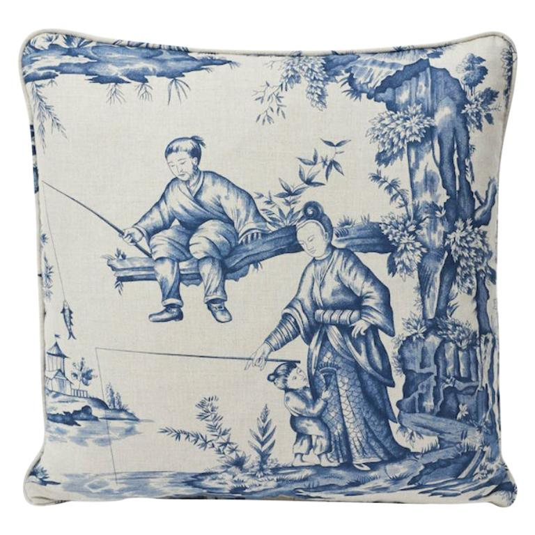 "Schumacher Shengyou Toile 18"" Blue Linen Cotton Pillow"