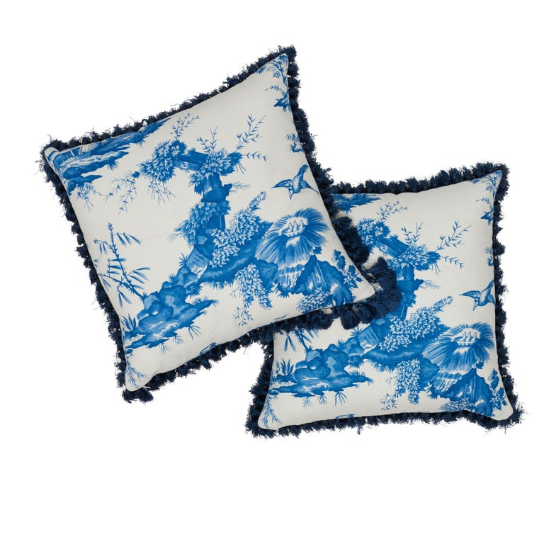 Schumacher Shengyou Toile Blue Linen Cotton Two-Sided Pillow In New Condition For Sale In New York, NY