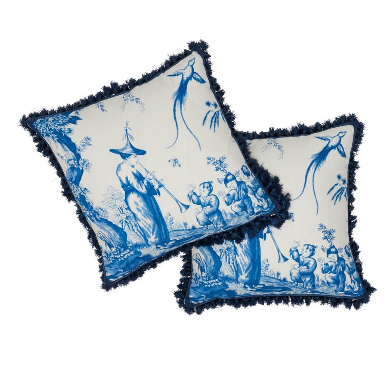 Schumacher Shengyou Toile Blue Linen Cotton Two Sided Pillow For Sale At 1stdibs