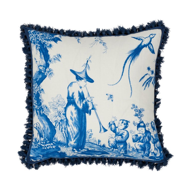 Schumacher Shengyou Toile Blue Linen Cotton Two-Sided Pillow For Sale