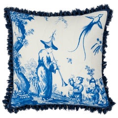Schumacher Shengyou Toile Blue Linen Cotton Two-Sided Pillow