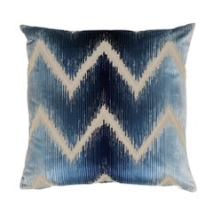 Schumacher Shock Wave Midnight Silk Cotton Two-Sided Pillow