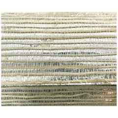 Schumacher Silvered Grasscloth Handmade Wallpaper 1970s, Hollywood Regency Glam