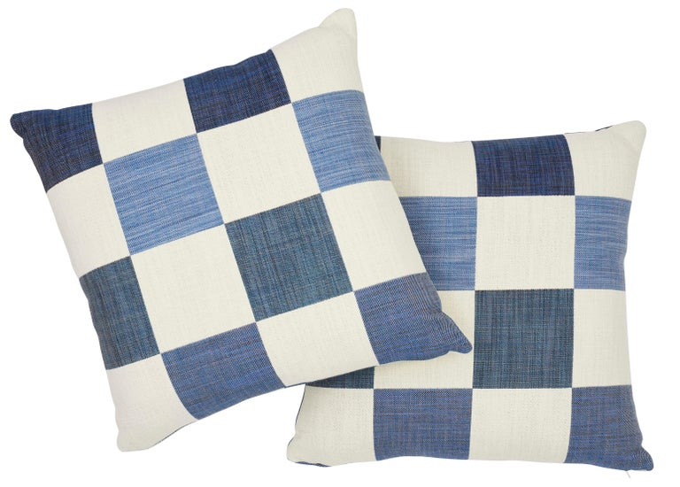Italian Schumacher Smithton Weave Denim Two-Sided Pillow For Sale