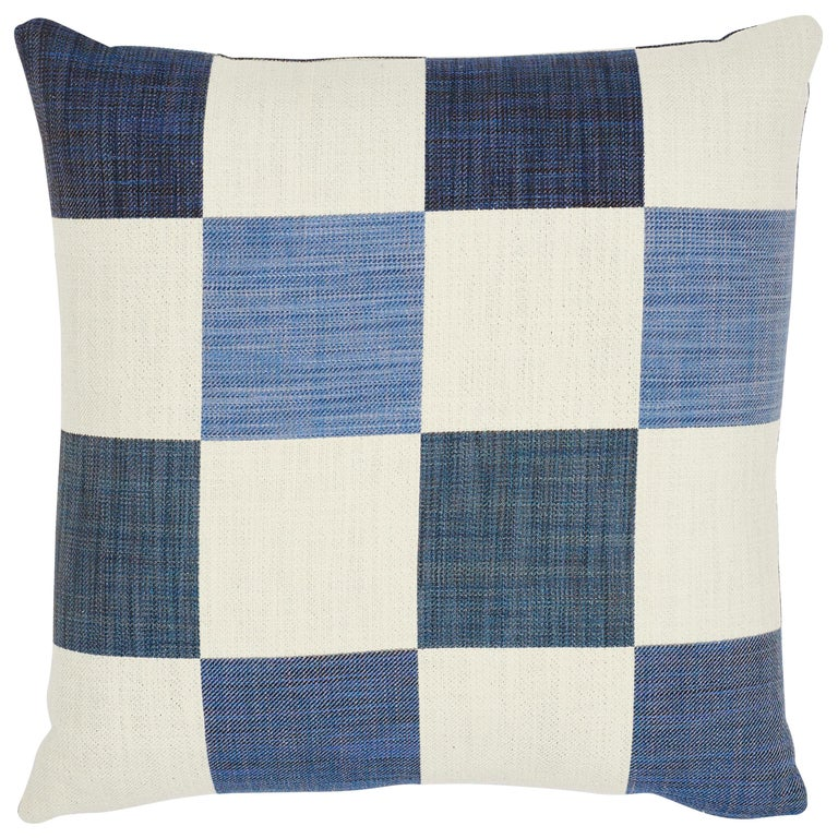 Schumacher Smithton Weave Denim Two-Sided Pillow For Sale