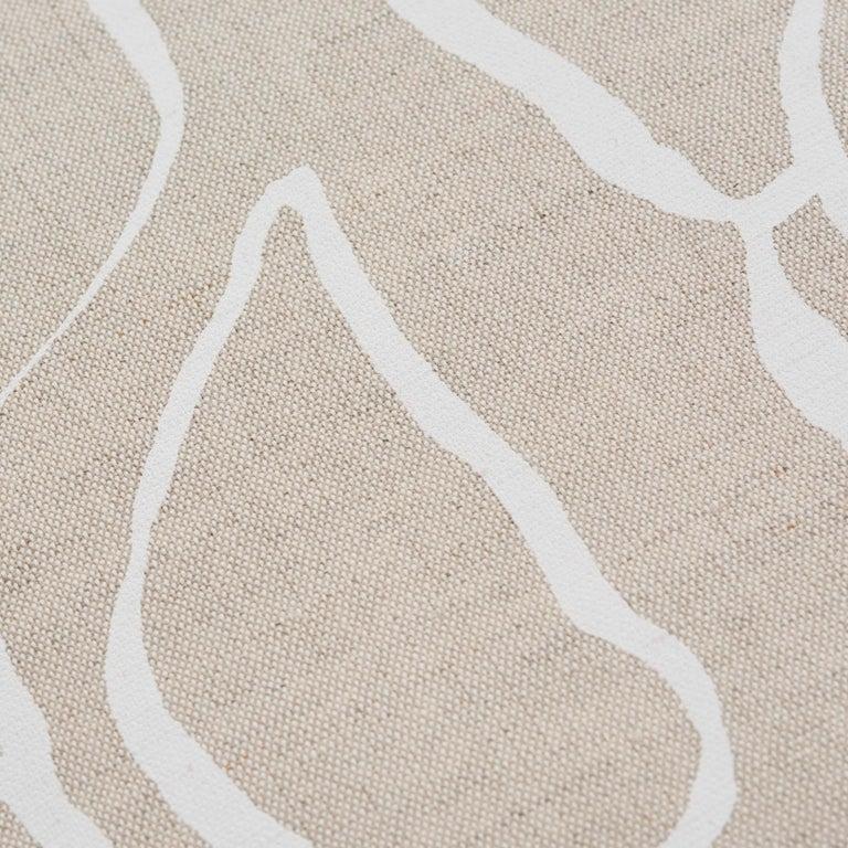 Modern Schumacher Solandra Vine Natural Linen Cotton Two-Sided Pillow For Sale