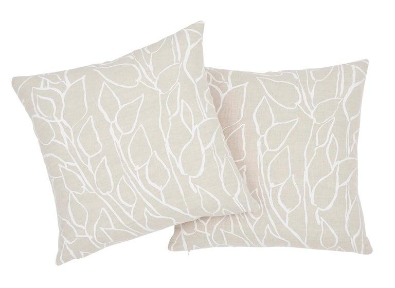Indian Schumacher Solandra Vine Natural Linen Cotton Two-Sided Pillow For Sale