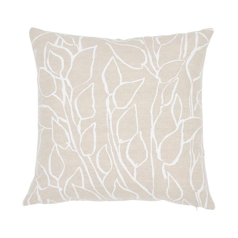 Schumacher Solandra Vine Natural Linen Cotton Two-Sided Pillow For Sale