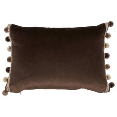 Schumacher Sophia Velvet Cocoa Lumbar Two-Sided Pillow