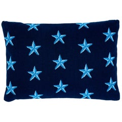 Schumacher Star Epingle Blue Two-Sided Cotton Pillow