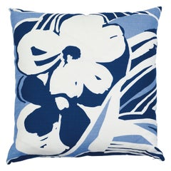 Schumacher Stevie Blue White Two-Sided Linen Pillow