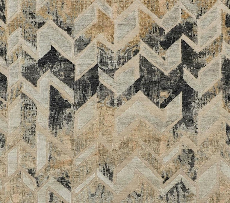 Modern Schumacher Stradane Area Rug in Hand-Knotted Silk by Patterson Flynn Martin For Sale