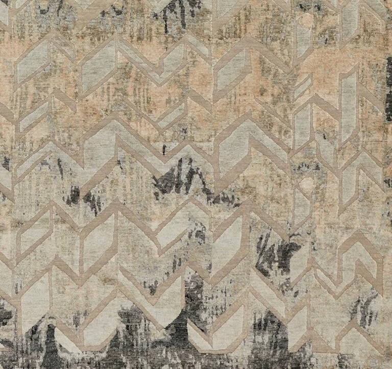 Indian Schumacher Stradane Area Rug in Hand-Knotted Silk by Patterson Flynn Martin For Sale