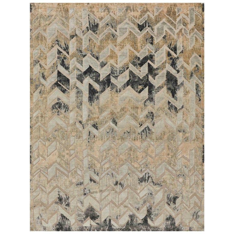 Schumacher Stradane Area Rug in Hand-Knotted Silk by Patterson Flynn Martin For Sale