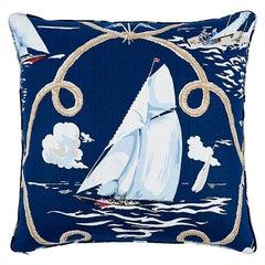 """Schumacher Summer Regatta Linen 24"""" Pillow in Navy"""