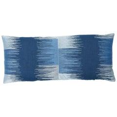 Schumacher Sunburst Stripe Embroidery Pillow in Blue