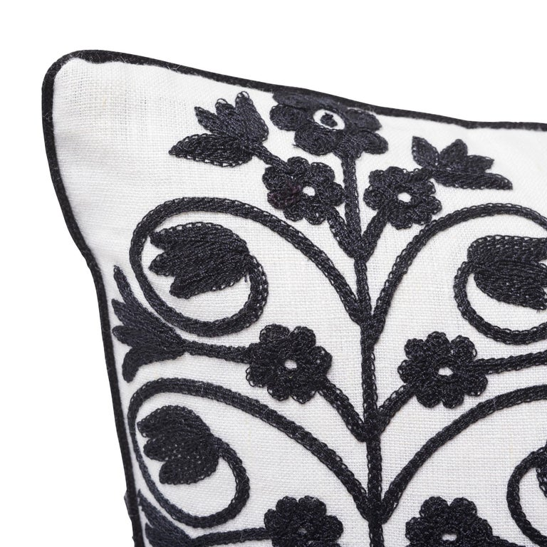 Modern Schumacher Talitha Embroidery Blackwork Two-Sided Linen Pillow For Sale