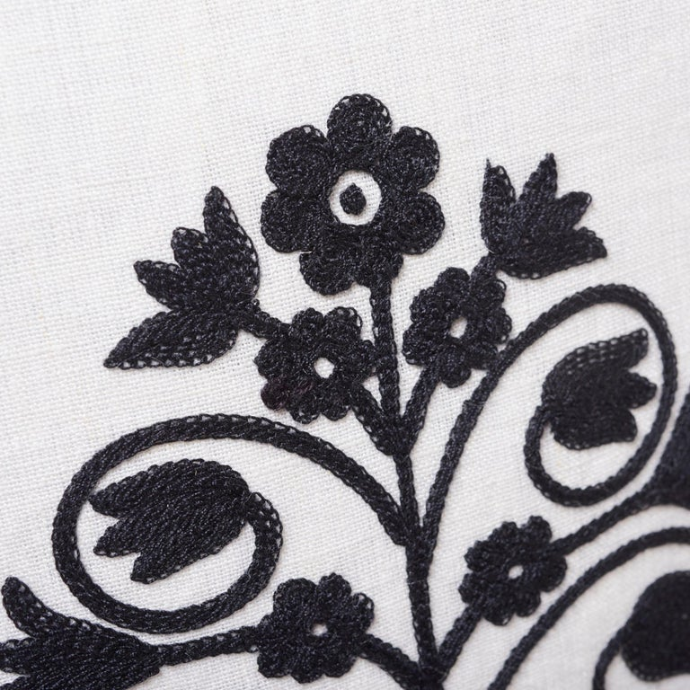 Indian Schumacher Talitha Embroidery Blackwork Two-Sided Linen Pillow For Sale