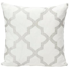 Schumacher Tangier Embroidery Moroccan Geometric Silver Two-Sided Pillow