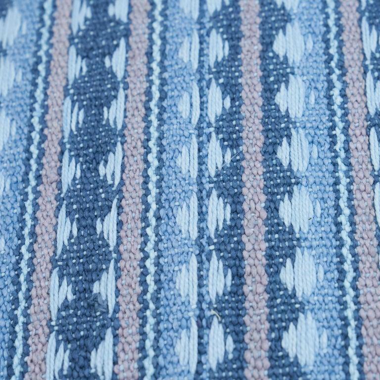 Scandinavian Modern Schumacher Tarnby Stripe Pillow in Sky For Sale