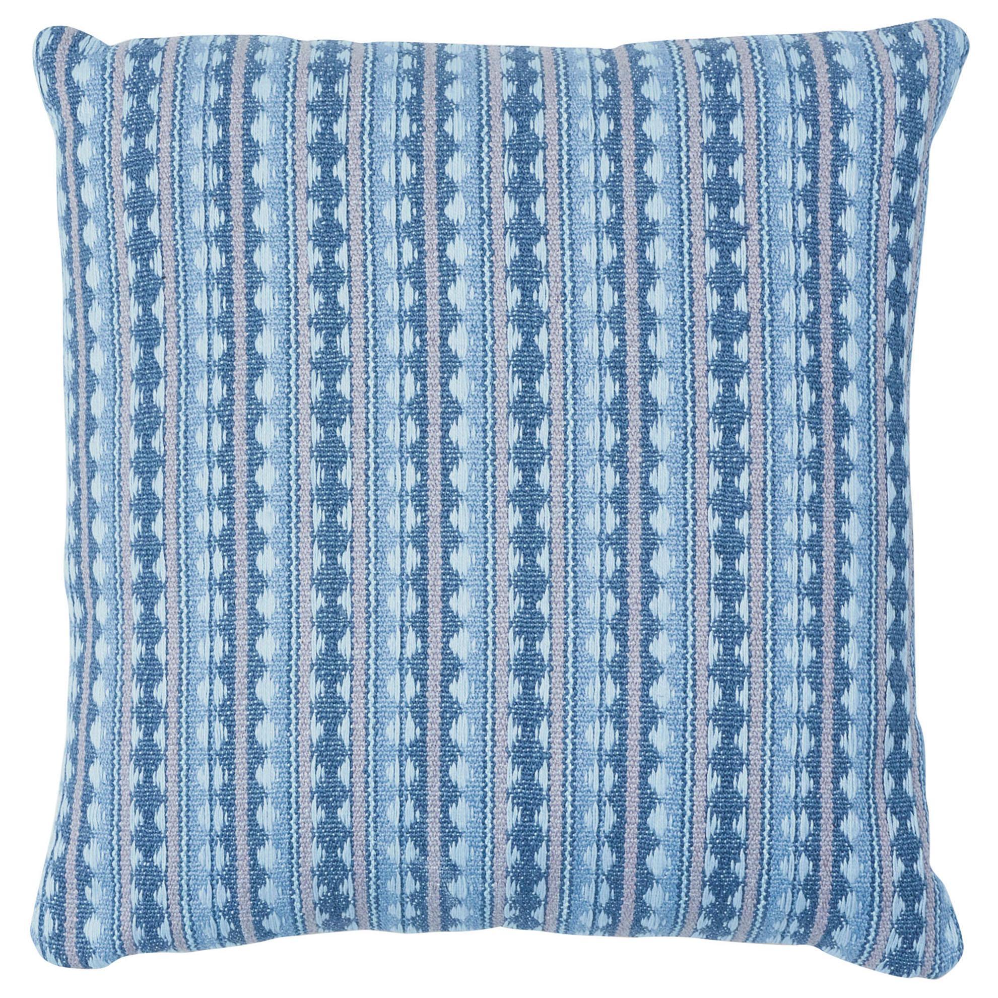 Schumacher Tarnby Stripe Pillow in Sky