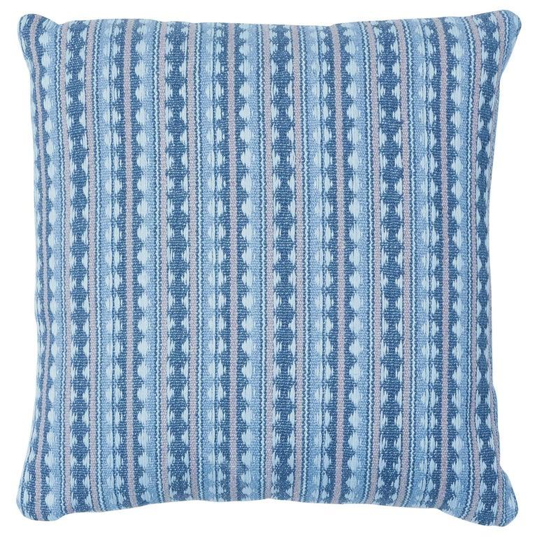 Schumacher Tarnby Stripe Pillow in Sky For Sale