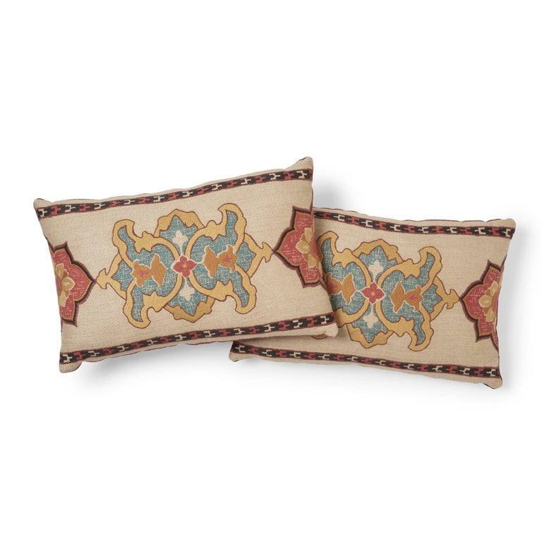 Modern Schumacher Temara Embroidered Print Pillow in Spice For Sale