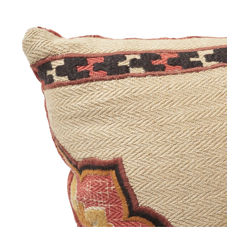 Indian Schumacher Temara Embroidered Print Pillow in Spice For Sale