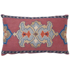 Schumacher Temara Embroidered Print Pillow in Pomegranate