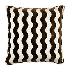 "Schumacher The Wave 22"" Pillow in Chocolate"
