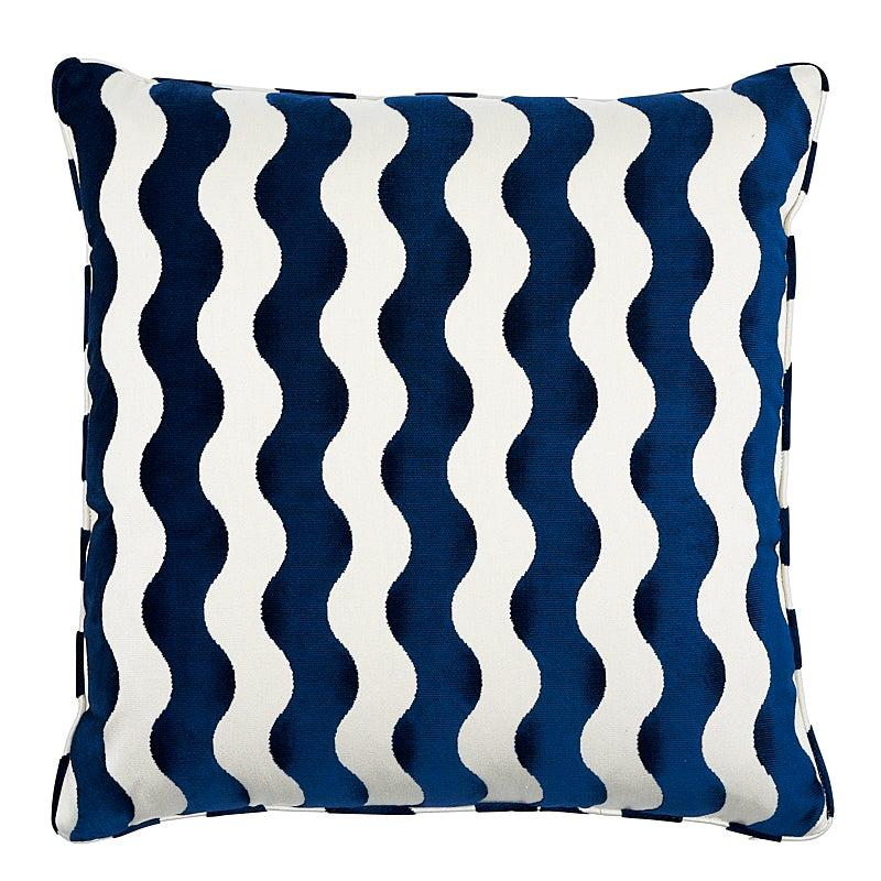 "Schumacher The Wave 24"" Pillow in Navy"