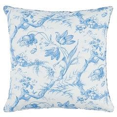 """Schumacher Toile de Fleurs 22"""" Pillow in Delft"""