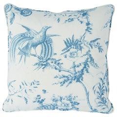Schumacher Toile De La Prairie Pillow in Blue