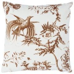 Schumacher Toile De La Prairie Pillow in Brown