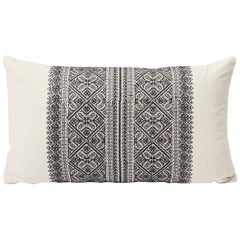 Schumacher Toledo Embroidered Bohemian Noir Black White Two-Sided Pillow