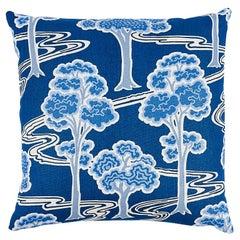 "Schumacher Tree River 22"" Revisable Pillow in Blue & White"
