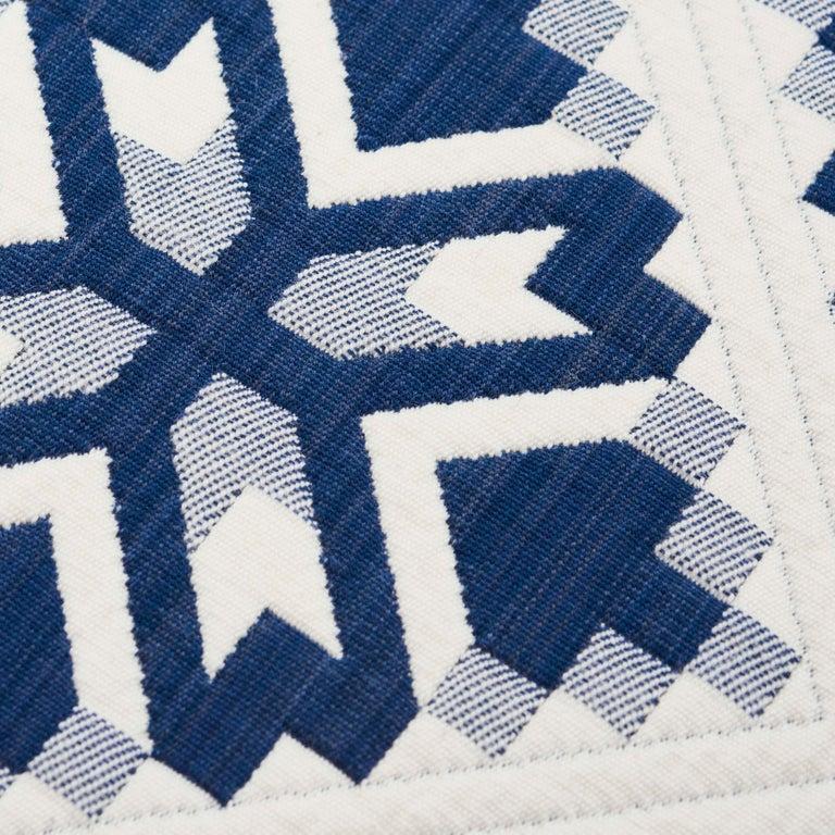 Modern Schumacher Tristan Patchwork Indigo Cotton Two-Sided Pillow For Sale