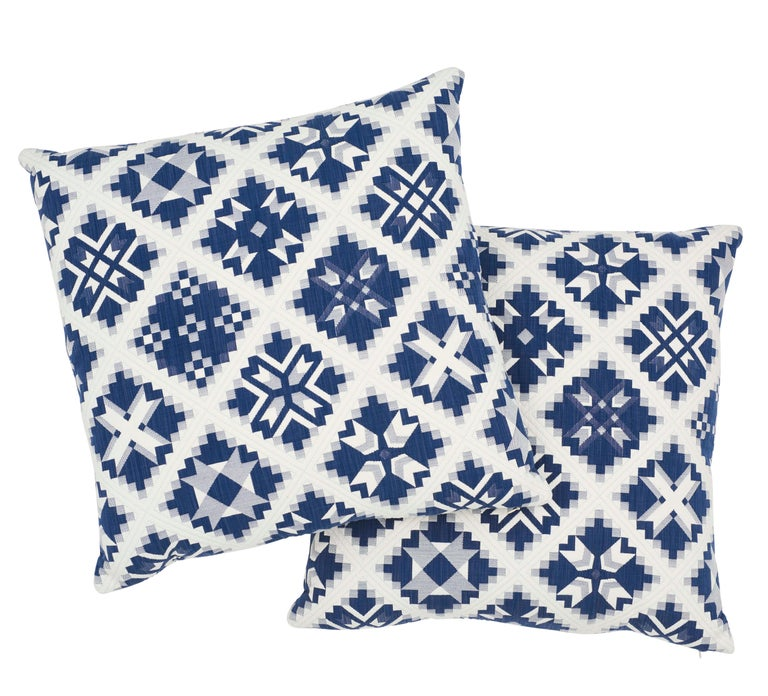 Italian Schumacher Tristan Patchwork Indigo Cotton Two-Sided Pillow For Sale