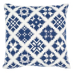 Schumacher Tristan Patchwork Indigo Cotton Two-Sided Pillow