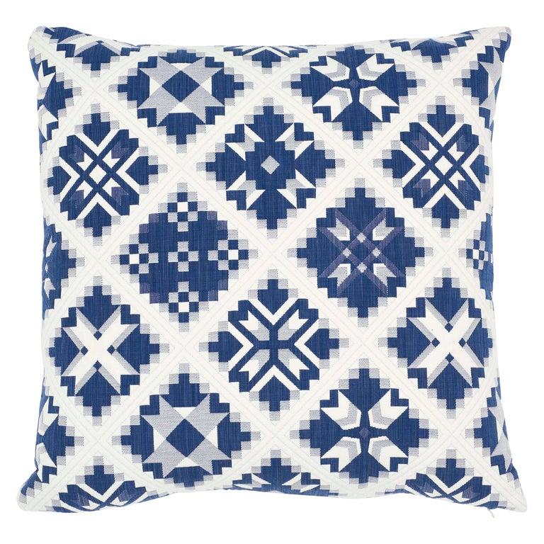 Schumacher Tristan Patchwork Indigo Cotton Two-Sided Pillow For Sale