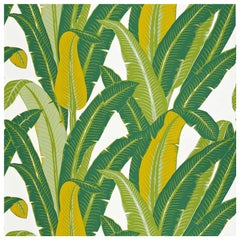 Schumacher Tropical Isle Floral Hand Printed Green on White Wallpaper