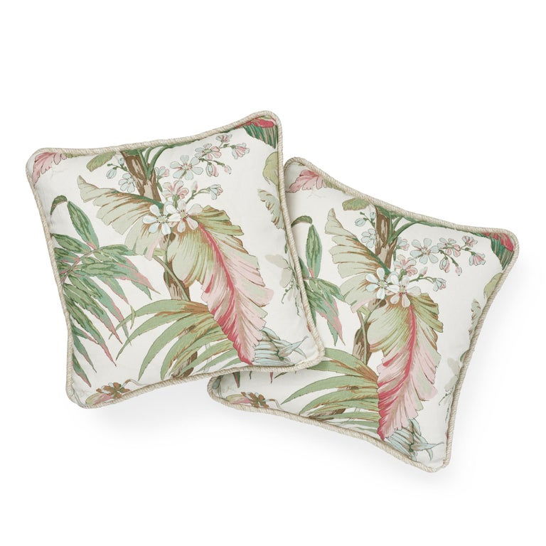 Modern Schumacher Tropique Blush Two-Sided Linen Pillow For Sale