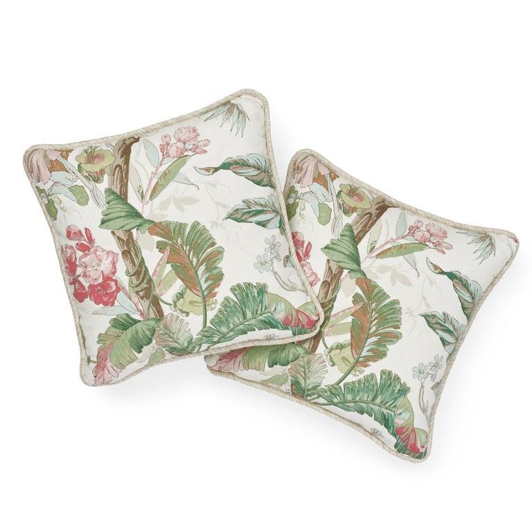British Schumacher Tropique Blush Two-Sided Linen Pillow For Sale
