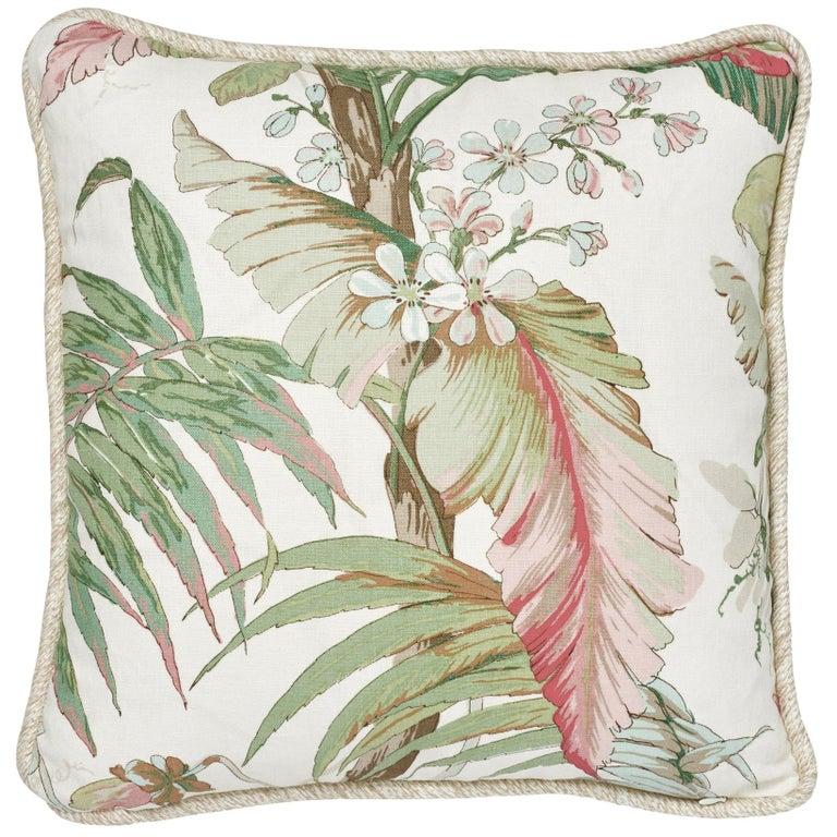 Schumacher Tropique Blush Two-Sided Linen Pillow For Sale