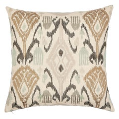"Schumacher Turkestan Embroidery 20"" Pillow in Moonstone"